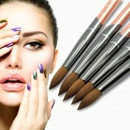 Eval pędzel 100% czysty Kolinsky Sable szczotka do paznokci żel UV akrylowy zestaw pędzli do stylizacji paznokci narzędzie do pa