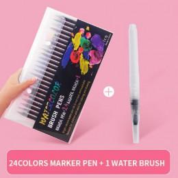 24/48 kolorów miękki pędzel do malowania zestaw długopisów komiks manga akwarela markery pióro kaligrafia szczotka materiały art