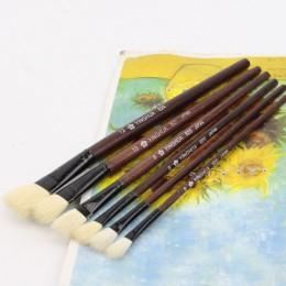 Wełna owca płaski ogon pędzel do farb olejnych dzieci akwarela gwasz długopis do malowania drewniany uchwyt zestaw pędzli do rys