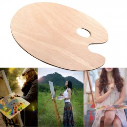 Płaski gładki akwarelowy artysta akrylowy z otworem na kciuk obraz olejny dostarcza drewnianą owalną paletę