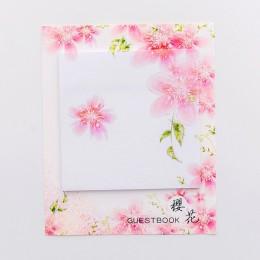 Śliczne Kawaii wiśniowe kwiaty notatnik kartki samoprzylepne naklejki papiernicze wysłane naklejki do planowania notatniki biuro