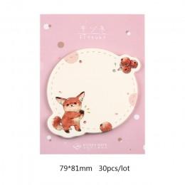 Mr Paper 30 sztuk/partia 6 wzorów Kawaii zwierzęta kreskówkowe królik Fox notatnik kartki samoprzylepne notatnik pamiętnik samop