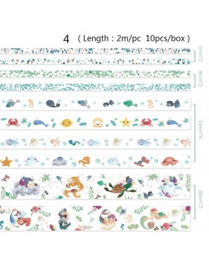 Panie papieru 24 wzory 10 sztuk/pudło Cute Cartoon zwierząt taśmy Washi Scrapbooking DIY Deco kreatywny japoński Kawaii taśmy ma