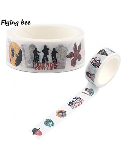 Flyingbee 15mmX5m dziwne rzeczy program telewizyjny Washi taśma klejąca DIY dekoracyjna taśma klejąca papiernicze taśmy maskując