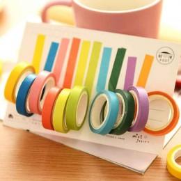 10 sztuk zestaw taśm washi pamiętnik Scrapbooking klej dekoracyjny taśmy maskujące DIY rainbow kolorowe lepkie szkolne japoński