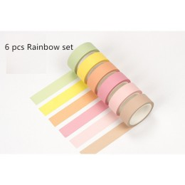 12 kolor miękka kolorowa papierowa taśma washi 15mm * 8m czysta taśmy maskujące dekoracyjne naklejki do dziennika DIY papiernicz