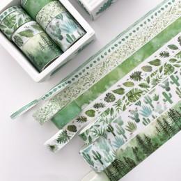 8 sztuk/paczka zielone liście kaktus Bullet Journal zestaw taśm washi klej taśma diy do scrapbookingu etykieta samoprzylepna mas