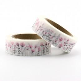 1pc DIY japoński papier różowe kwiaty Washi taśma klejąca taśmy maskujące taśmy samoprzylepne naklejki dekoracyjne taśmy papiern