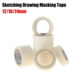 Taśma maskująca biały kolor 12/18/24mm z jednej strony taśma klejąca bibuła karbowana do oleju malarstwo szkic rysunek dostaw hu