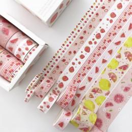 8 rolek/zestaw taśma samoprzylepna z wzorami zestaw zielonych liści kaktus Flamingo kreatywne taśmy washi DIY naklejki scrapbook