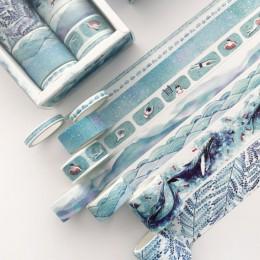 8 sztuk/paczka wieloryb oceanu Bullet Journal zestaw taśm washi klej taśma diy do scrapbookingu etykieta samoprzylepna maskująca