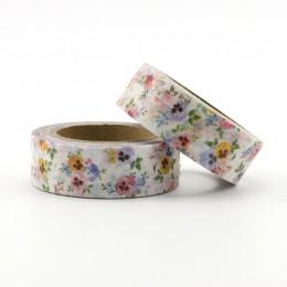 1X DIY japoński papier naturalna kwiatowa taśma washi papierowe taśmy maskujące taśmy samoprzylepne naklejki dekoracyjne taśmy p