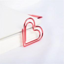 24 sztuk/pudło czerwone serce kształt spinacze do papieru Kawaii biurowe drążą spinacze do papieru zdjęcia bilety dokument list
