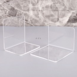 2 sztuk przezroczysty akrylowy Bookends w kształcie litery L organizer na biurko pulpit stojak na książkę szkoła papiernicze akc