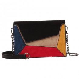 Yogodlns Retro matowy Patchwork Crossbody torby dla kobiet Messenger torby pasek z łańcuchem na ramię pani mała klapa criss-torb