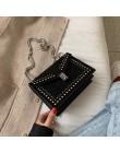 Peeling skórzane małe torby listonoszki dla kobiet 2020 łańcuch nit blokady Crossbody torba kobiet podróży Mini torby