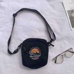 Kobiety płócienne torebki koreański Mini torba studencka pokrowce na telefon komórkowy proste małe torby typu Crossbody na co dz