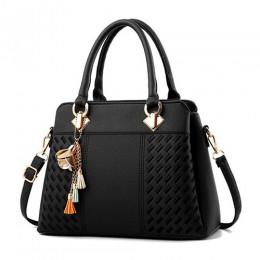 Moda damska torebki Tassel torby tote ze skóry pu torba top-uchwyt haft Crossbody torba na ramię pani proste Style torebki