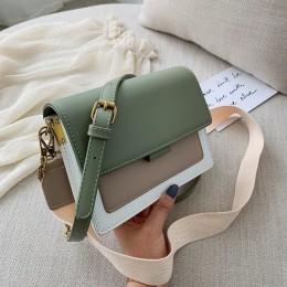 Kontrastowe kolorowe torby na ramię ze skóry pu dla kobiet 2019 torba podróżna moda prosta torba na ramię torebki damskie na dłu
