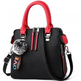 PU skóra kobiet torba futrzana kulka Crossbody torba klapowa kobieca torba na ramię jednokolorowe torebki