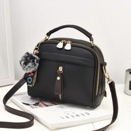 2019 damskie torebki na ramię Crossbody torba dla kobiet torebka PU skóra w pełni księżyca cukierki kolor śliczne z futrzana kul