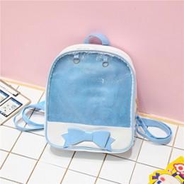 Przezroczysty plecak dla kobiet śliczny łuk Ita torby dla szkoły Mini różowy czarny tornistry dla moda dla dziewcząt nastolatek