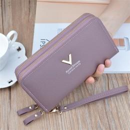 Nadgarstek podwójny zamek błyskawiczny kobiety długi portfel o dużej pojemności portfele kobiece torebki damskie etui na telefon