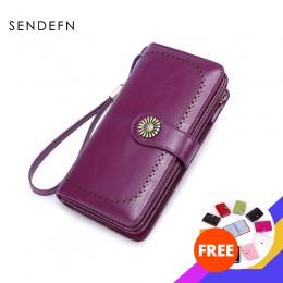 SENDEFN RFID Hot kobiet sprzęgła skórzany portfel długi portfel damski panie etui na zamek pasek portfel torebka dla iPhone 7 51