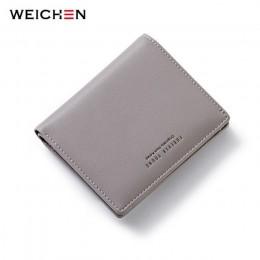 WEICHEN cienki stylowy portfel damski Zipper portmonetka z tyłu niebieski miękki skórzany damski wizytownik cieńka torebka portf