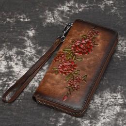 Kobiety naturalna skóra długi portfel pieniądze poręczna torba etui na dowód osobisty wytłoczony kwiatowy motyw oryginalna skórz
