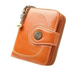 2019 New Vintage Button torby na telefon kobiety portfele torebka damska skóra marki Retro panie długi zamek błyskawiczny damski