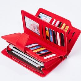 Portfel damski portfel ze skóry pu torebka z uchwytem czerwony 3 krotnie kobiety portfele na zamek błyskawiczny torebka pasek po