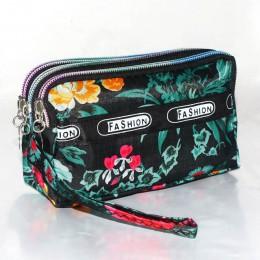 Moda kobiety portfel tkanina płócienna Zipper Lady torebki Moneybags kropka kwiatowa moneta torebka sprzęgła opaska torebka dzie