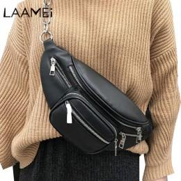 Laamei Pu skórzana saszetka na zamek kobiet talii torba modny pasek torba na klatkę piersiowa podróży pieniądze etui na telefony
