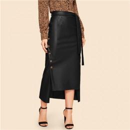 SHEIN brązowy elegancki z nieregularnym brzegiem z przodu podwójny guzik z wiązaniem jak ze skóry długa spódnica urząd Lady soli