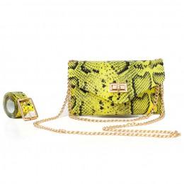 Neon zielone modne nadruk węża talia saszetka do paska torba kobiety serpentyn PU skórzana talia torba na klatkę piersiową kobie