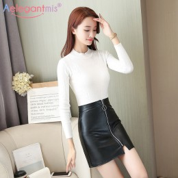 Aelegantmis wiosna lato Casual PU skórzana spódnica kobiety elegancki zamek Mini spódnica linii Lady Skinny spódnice z wysokim s