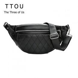 TTOU klasyczny modny Pu skórzany pas biodrowy jednolita moda damskie torebki na ramię czarny wzór torba prosty pasek na co dzień