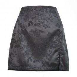 Lato 2020 kobiet spódnica z rozcięciem sexy żakardowe satynowe wysokiej talii spódnica zip kobiety party czarna spódnica panie s