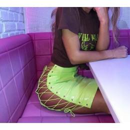OMSJ 2019 Sexy Club kobieta Mini spódnica ołówkowa kobiety wysoki gorset Neon zielony pomarańczowy jednolita sukienka typu bodyc