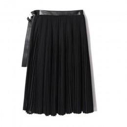 [EAM] 2020 nowa wiosna wysokiej talii jednolity kolor czarny plisowana luźna, z wycięciem wspólne spódnica pół ciała kobiety mod