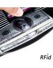Skóra RFID blokowanie etui na karty kredytowe mężczyźni z zabezpieczeniem przeciw kradzieży paszport podróże długi portfel kobie