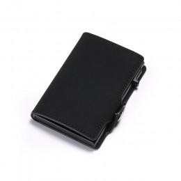 DIENQI Anti Rfid etui na karty kredytowe etui męskie skórzane etui na dowód osobisty Bank aluminiowy metalowy portfel torba na k
