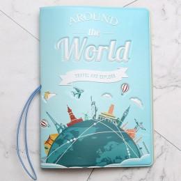 Podróż dookoła świata okładka na paszport kopertówka PU skórzany adres dowód tożsamości uchwyt przenośna karta pokładowa pokrywa