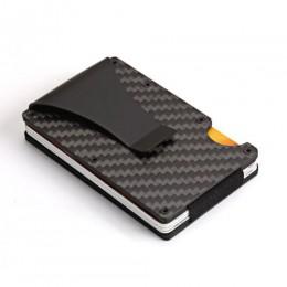 Carbon Fiber metalowe etui na karty kredytowe portfel rfid blokowanie przenośne etui na dowód mężczyźni aluminiowy klips kieszon