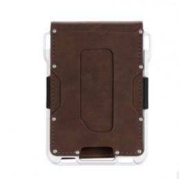 Aluminium RFID blokowanie etui na karty kredytowe moneta torebka skóra crazy horse minimalistyczny portfel na karty dla mężczyzn