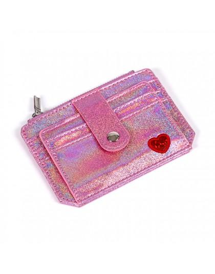 UOSC śliczne serce kobiety laserowe monety kiesy Mini mała portmonetka etui na karty portfel Carteira femme Feminina Mujer dziew