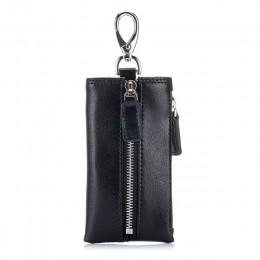 Vintage wielofunkcyjny portfel na klucze organizator Split Leather Coin torebka mężczyźni etui na klucze samochodowe kobiety kar