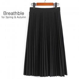 SheBlingBling wiosna jesień moda damska wysokiej talii plisowana Solid Color elastyczna spódnica do połowy długości promocje Lad