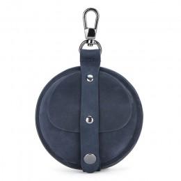 Skórzana torebka na monety mężczyźni Vintage Crazy Horse małe drobne kieszonkowe słuchawki słuchawki Airpod schowek na okulary p